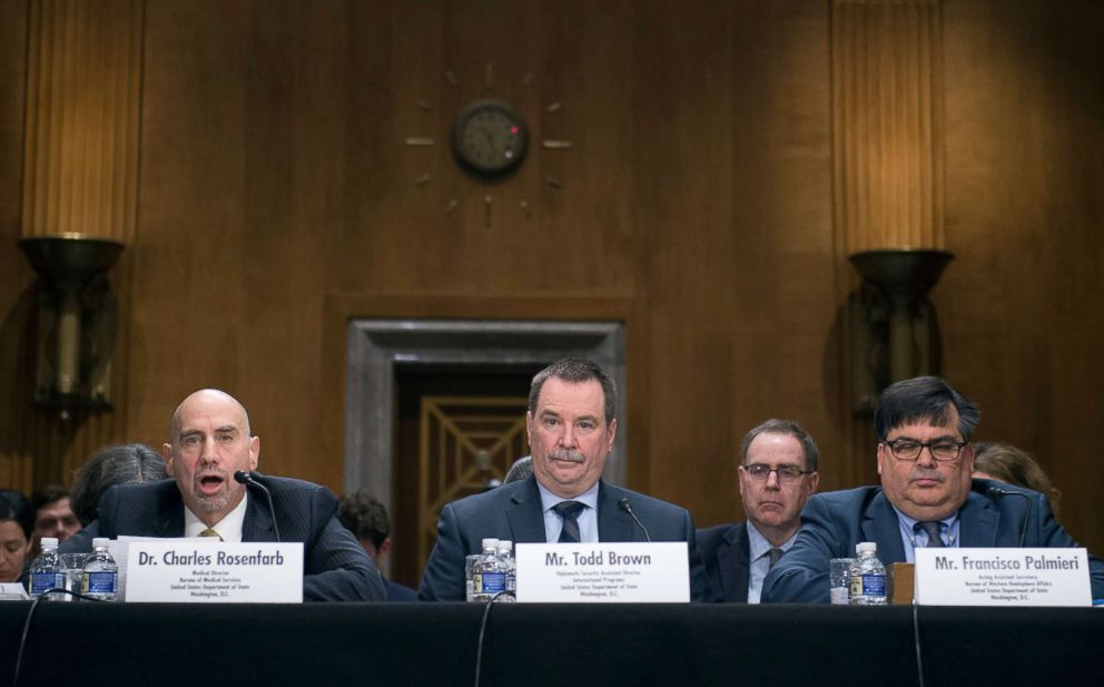 PHOTO: Charles Rosenfarb, Todd Brown and Francisco Palmieri take part in a foreign relations hearing on the attacks on US diplomats in Cuba in Washington, Jan. 9, 2018.