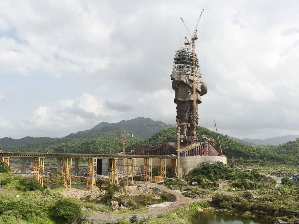 PHOTO: Indian workers carry on construction works at the Statue Of Unity, a monument dedicated to Indian independence leader Vallabhbhai Patel, at Kevadiya Colony in the vicinity of Narmada Dam, Aug. 25, 2018, from Ahmedabad in Gujarat state.