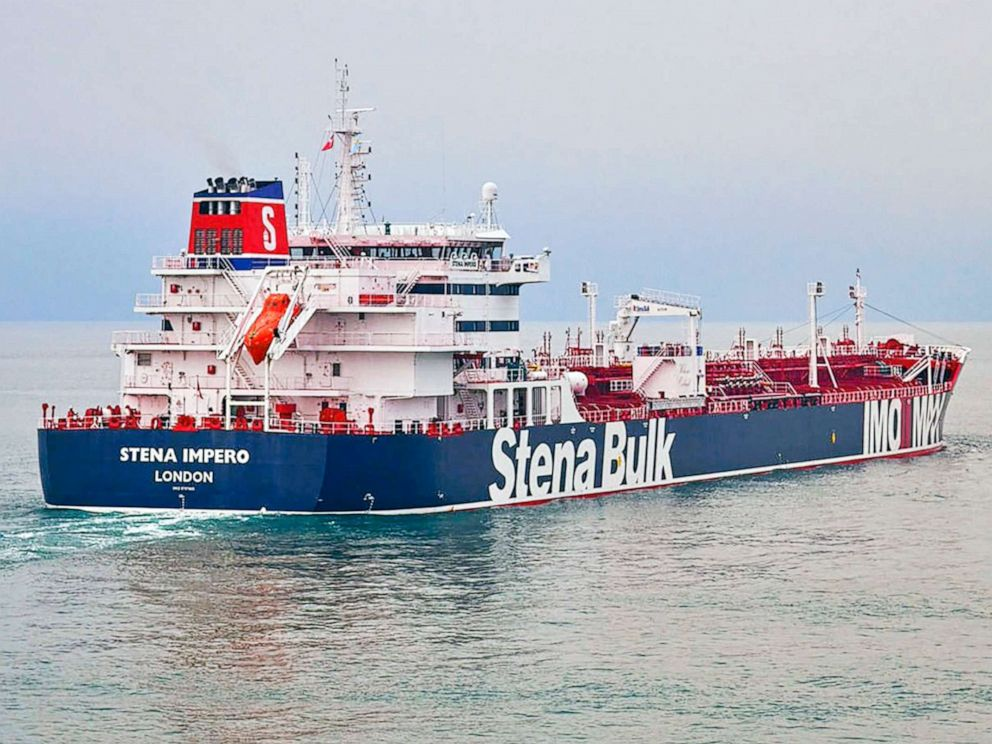 PHOTO: This undated photo issued on July 19, 2019, by Stena Bulk, shows the British oil tanker Stena Impero at unknown location, which is believed to have been captured by Iran.