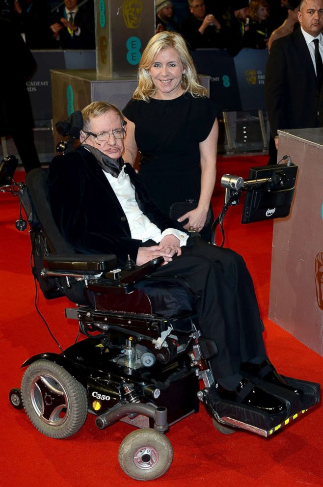 PHOTO: Stephen Hawking and daughter Lucy Hawking attends the EE British Academy Film Awards at The Royal Opera House, Feb. 8, 2015, in London.