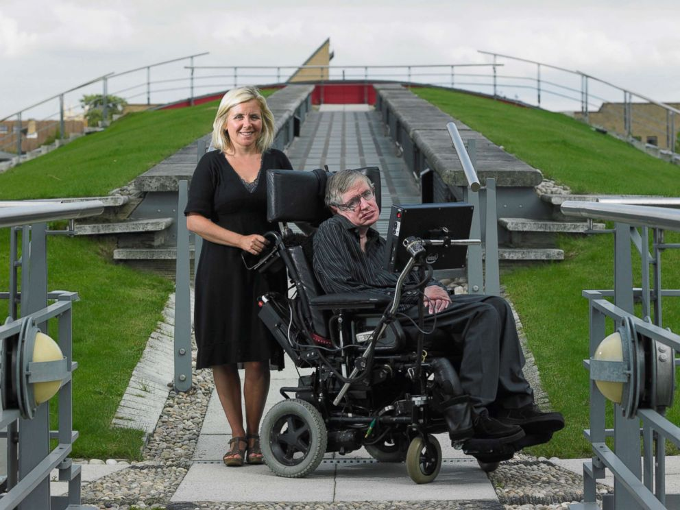 PHOTO: British theoretical physicist Stephen Hawking photographed with his daughter Lucy at the institute of Mathematics, Jan. 21, 2006, in Cambridge, UK.