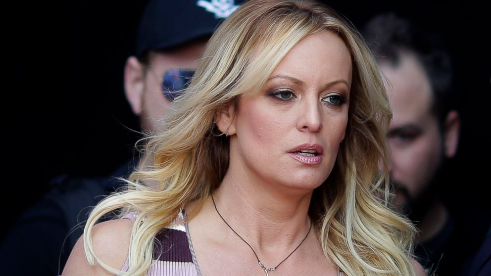 "Stormy Daniels arrives for the opening of the adult entertainment fair ""Venus,"" in Berlin, Oct. 11, 2018."