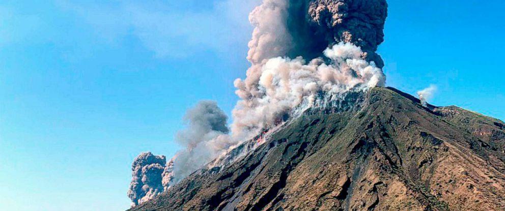 PHOTO: Smoke billows from the volcano on the Italian island of Stromboli, July 3, 2019.