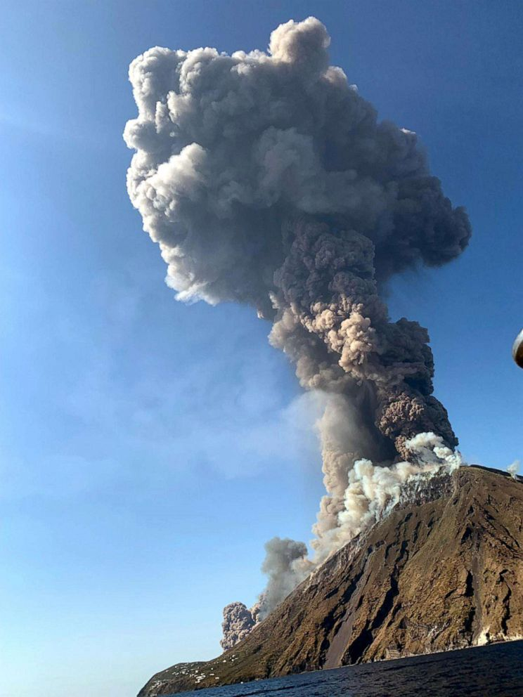 PHOTO: Ash rises into the sky after a volcano eruption on a small island of Stromboli, Italy, July 3, 2019.