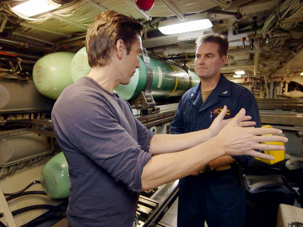 PHOTO: ABC News anchor David Muir speaks with Capt. Seth Burton aboard guided missile submarine USS Florida on the Mediterranean Sea.