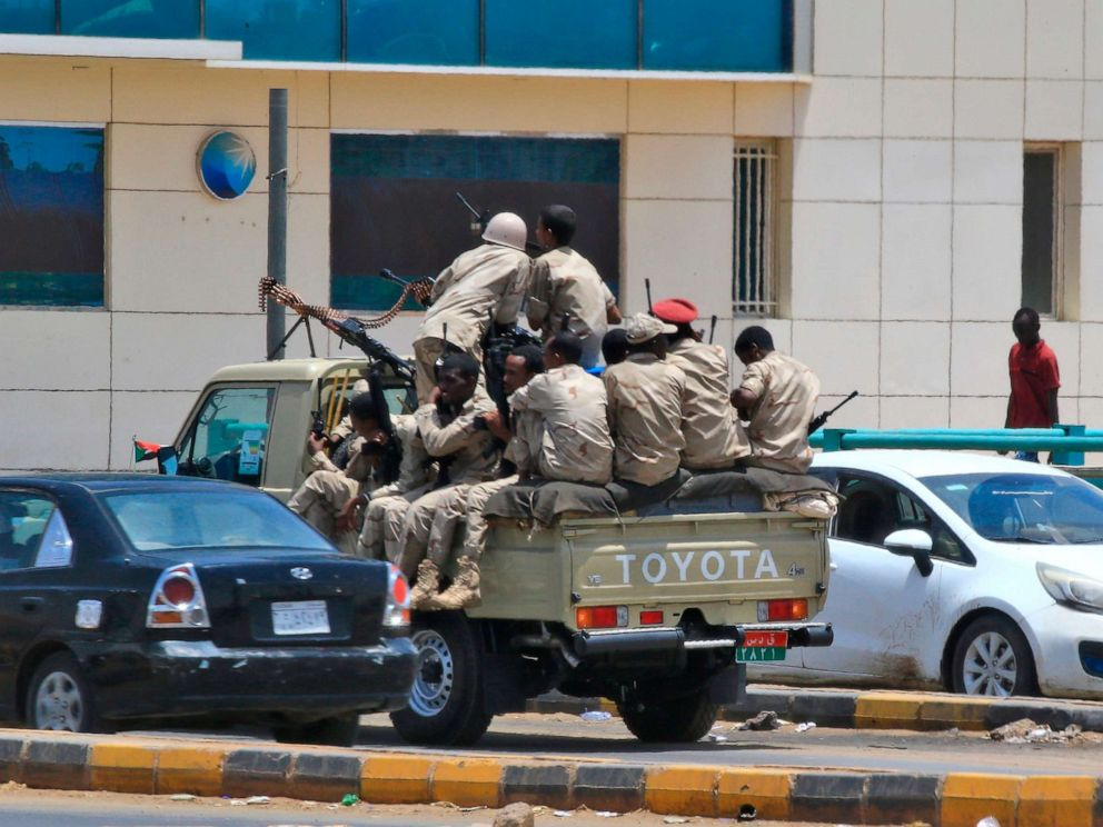 PHOTO: Members of Sudans security forces patrol on June 6, 2019, in Khartoum.