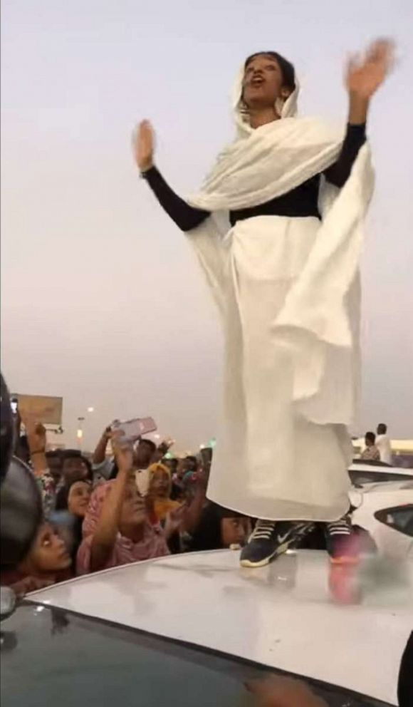 PHOTO: A video of a Sudanese protester reciting revolutionary poetry to thousands of protesters in Sudans capital Khartoum went viral in April 2019.