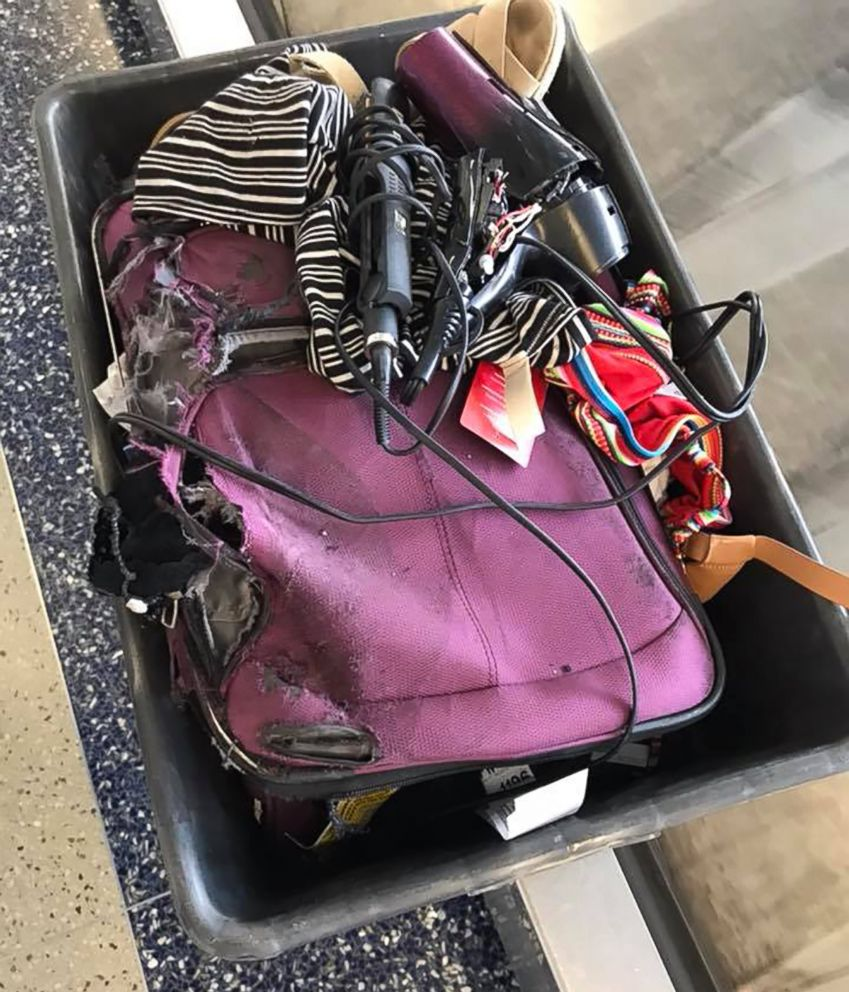PHOTO: The remnants of Kristen Horabins checked suitcase after American Airlines flight is seen here.