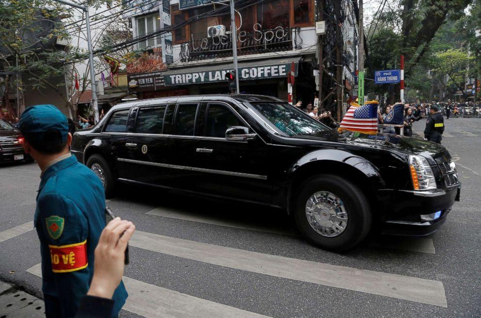 PHOTO: The motorcade of President Donald Trump travels towards the Metropole for the North Korea-U.S. summit with North Korean leader Kim Jong Un in Hanoi, Vietnam, Feb. 28, 2019.