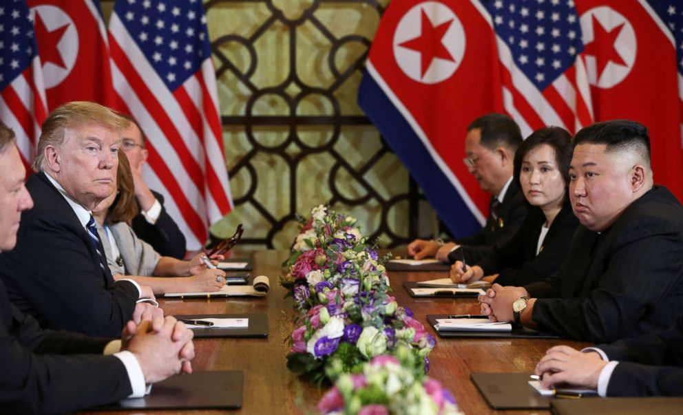 PHOTO: North Koreas leader Kim Jong Un and President Donald Trump look on during the extended bilateral meeting in the Metropole hotel during the second North Korea-U.S. summit in Hanoi, Vietnam, Feb. 28, 2019.