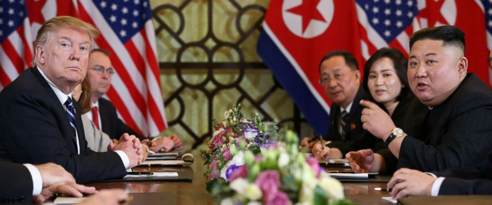 PHOTO: North Koreas leader Kim Jong Un speaks as President Donald Trump looks on during the extended bilateral meeting in the Metropole hotel during the second North Korea-U.S. summit in Hanoi, Vietnam, Feb. 28, 2019.