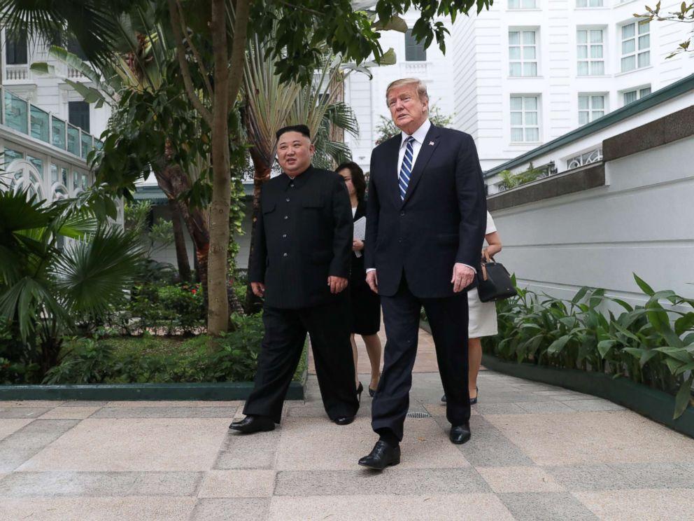 PHOTO: President Donald Trump and North Koreas leader Kim Jong Un walk in the garden at the Metropole hotel during the second North Korea-U.S. summit in Hanoi, Vietnam, Feb. 28, 2019.