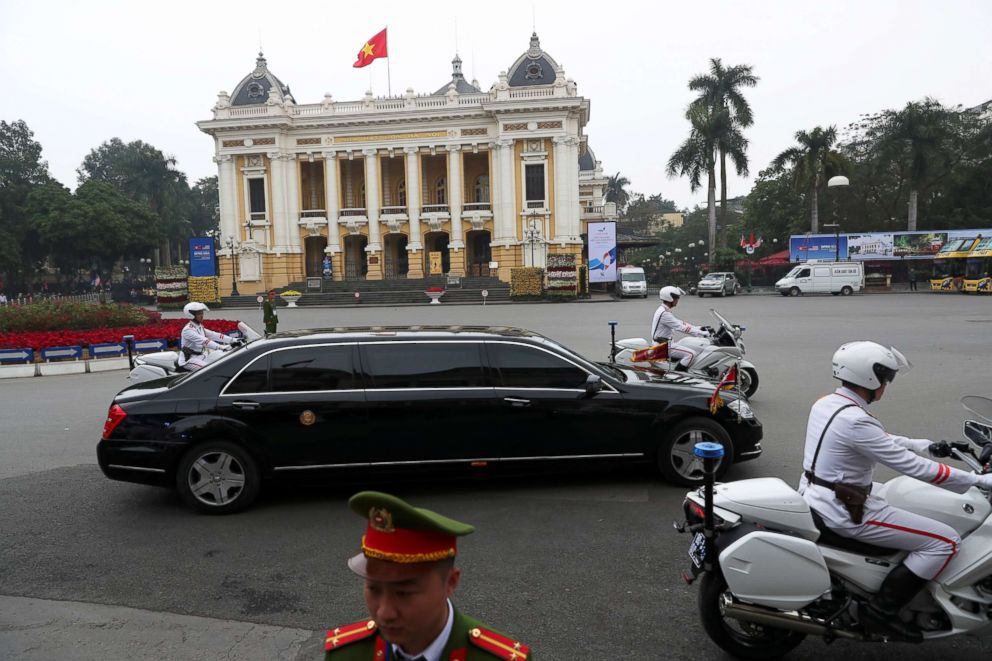 PHOTO: The motorcade transporting North Korean leader Kim Jong Un passes the Opera House after leaving the Metropole Hotel after his meeting with President Donald Trump for the second North Korea-U.S. summit in Hanoi, Vietnam, Feb. 28, 2019.