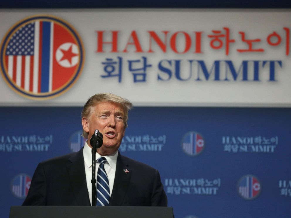 PHOTO: President Donald Trump holds a news conference after his summit with North Korean leader Kim Jong Un at the JW Marriott hotel in Hanoi, Vietnam, Feb. 28, 2019.