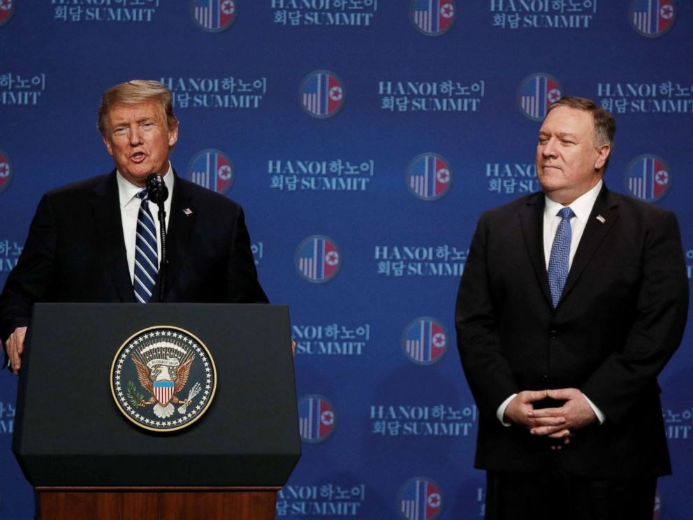 PHOTO: President Donald Trump speaks next to Secretary of State Mike Pompeo during a news conference after Trumps summit with North Korean leader Kim Jong Un, at the JW Marriott Hotel in Hanoi, Vietnam, Feb. 28, 2019.