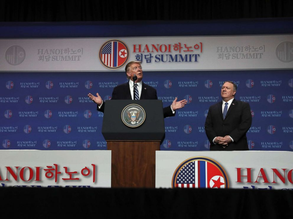 PHOTO: President Donald Trump holds a news conference next to Secretary of State Mike Pompeo after his summit with North Korean leader Kim Jong Un at the JW Marriott hotel in Hanoi, Vietnam, Feb. 28, 2019.