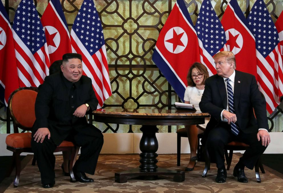 PHOTO: President Donald Trump looks towards North Korean leader Kim Jong Un during the one-on-one bilateral meeting at the second North Korea-U.S. summit in Hanoi, Vietnam, Feb. 28, 2019.