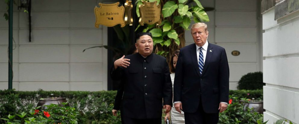 PHOTO: President Donald Trump and North Korean leader Kim Jong Un take a walk after their first meeting, Feb. 28, 2019, in Hanoi.