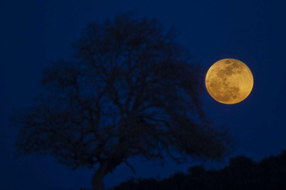 PHOTO: A super blue blood moon rises over Michmoret, Israel, Jan. 31, 2018.