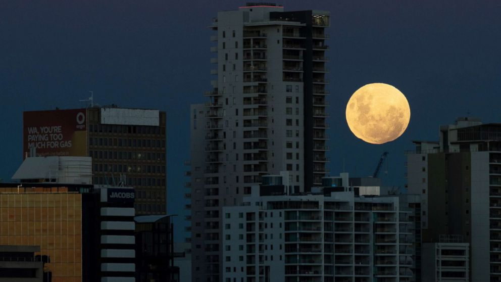 A super blue blood moon rises over the city of Perth in Western Australia, Jan. 31, 2018.