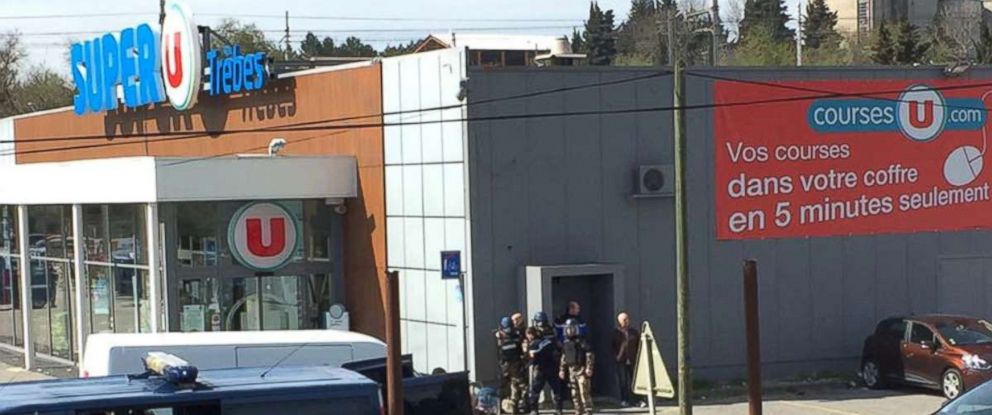 PHOTO: Police are seen at the scene of a hostage situation in a supermarket in Trebes, France, March 23, 2018, in this picture obtained from a social media video.