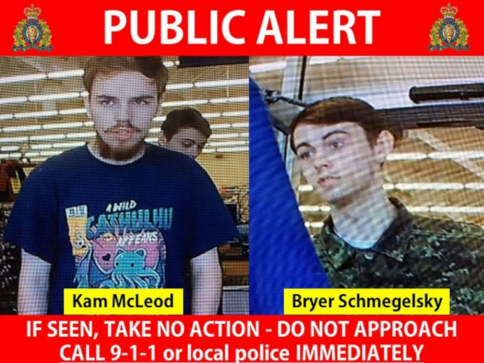 PHOTO: : The Royal Canadian Mounted Police released these images of Kam McLeod and Bryer Schmegelsky.