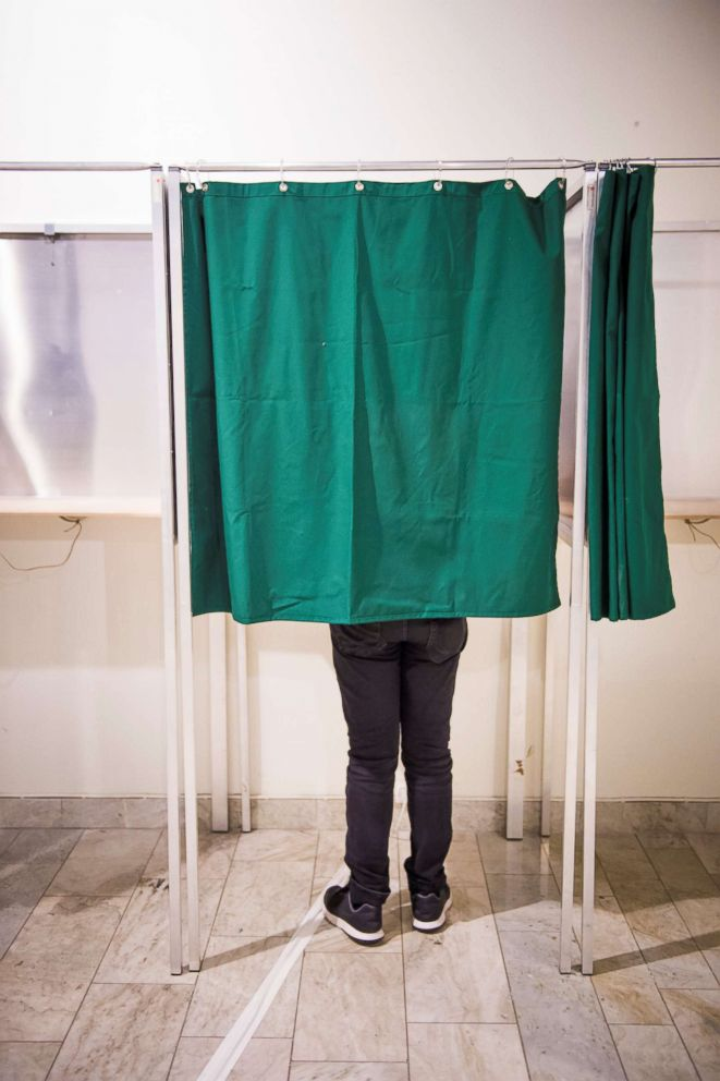 PHOTO: A person cast a ballot during advance voting, at a polling station in Stockholm, Sweden, Aug. 23, 2018.