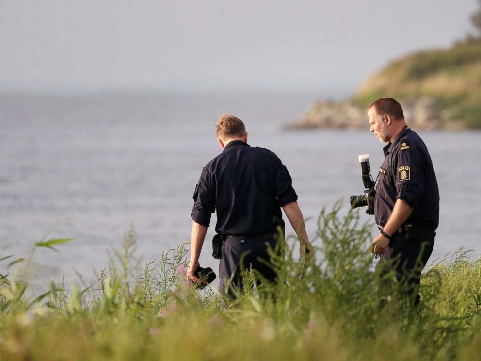 PHOTO: Swedish police conducting their investigation at the scene where the body of Swedish freelance journalist Kim Wall was found, August 24, 2017.
