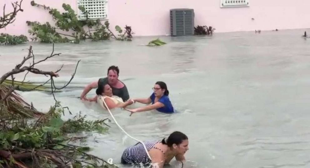 PHOTO: A group of people were rescued from raging floodwaters in Abaco Island, Bahamas, on Sunday, Sept. 1, 2019, as Hurricane Dorian slammed the nation with record force.