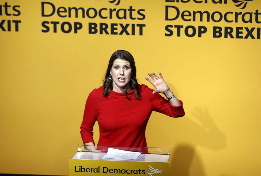 PHOTO: Jo Swinson, leader of the Liberal Democrats, speaks during the partys new leader announcement in London, U.K., on Monday, July 22, 2019.