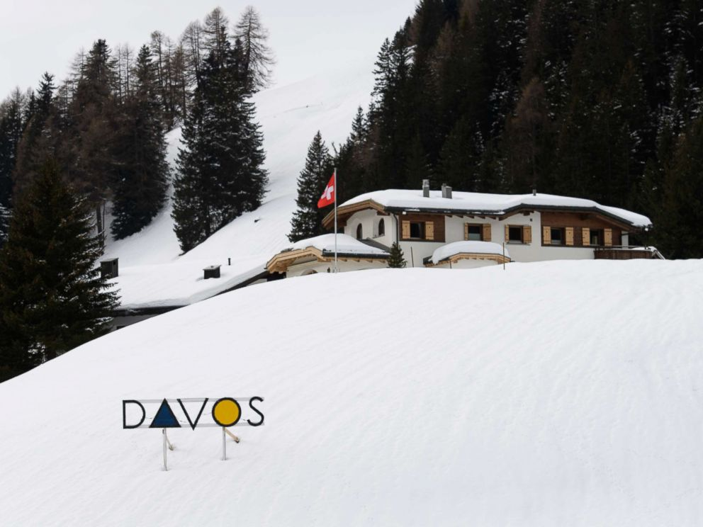 PHOTO: A sign reading Davos, pictured prior to the World Economic Forum WEF in Davos, Switzerland, Jan. 12, 2018.
