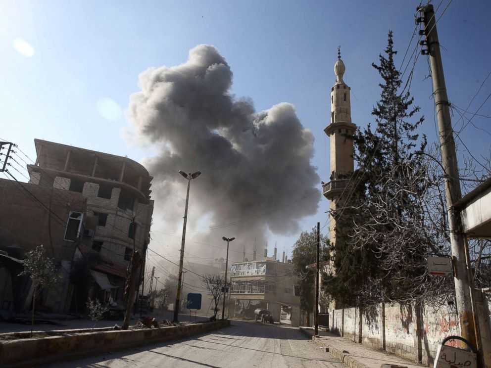 PHOTO: Smoke rises from the rebel held besieged town of Hamouriyeh, eastern Ghouta, near Damascus, Syria, Feb. 21, 2018.