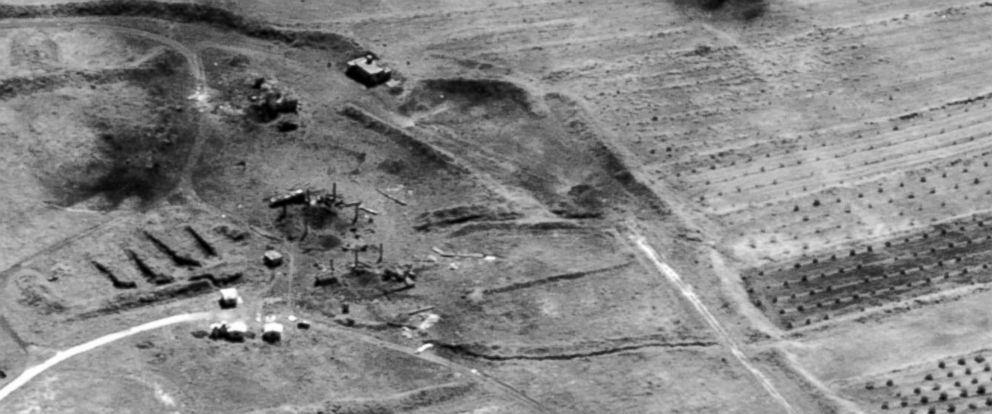 PHOTO: This image provided by the Department of Defense was presented as part of a briefing slide at the Pentagon briefing, April 14, 2018, and shows a photo of a preliminary damage assessment from the Him Shinshar Chemical Weapons Storage Site in Syria.