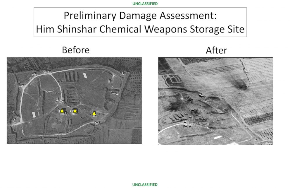 PHOTO: This image provided by the Department of Defense that was presented at the Pentagon briefing on Saturday, April 14, 2018, shows before and after images from the Him Shinshar Chemical Weapons Storage Site in Syria.