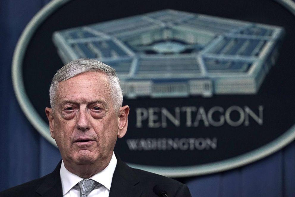 PHOTO: Defense Secretary Jim Mattis briefs members of the media on Syria at the Pentagon April 13, 2018 in Arlington, Va.