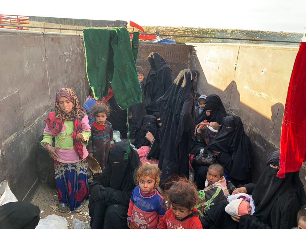 PHOTO: Children and women continued to emerge from ISISs final holdout in Baghouz, Syria, as fighting raged on March 13, 2019.
