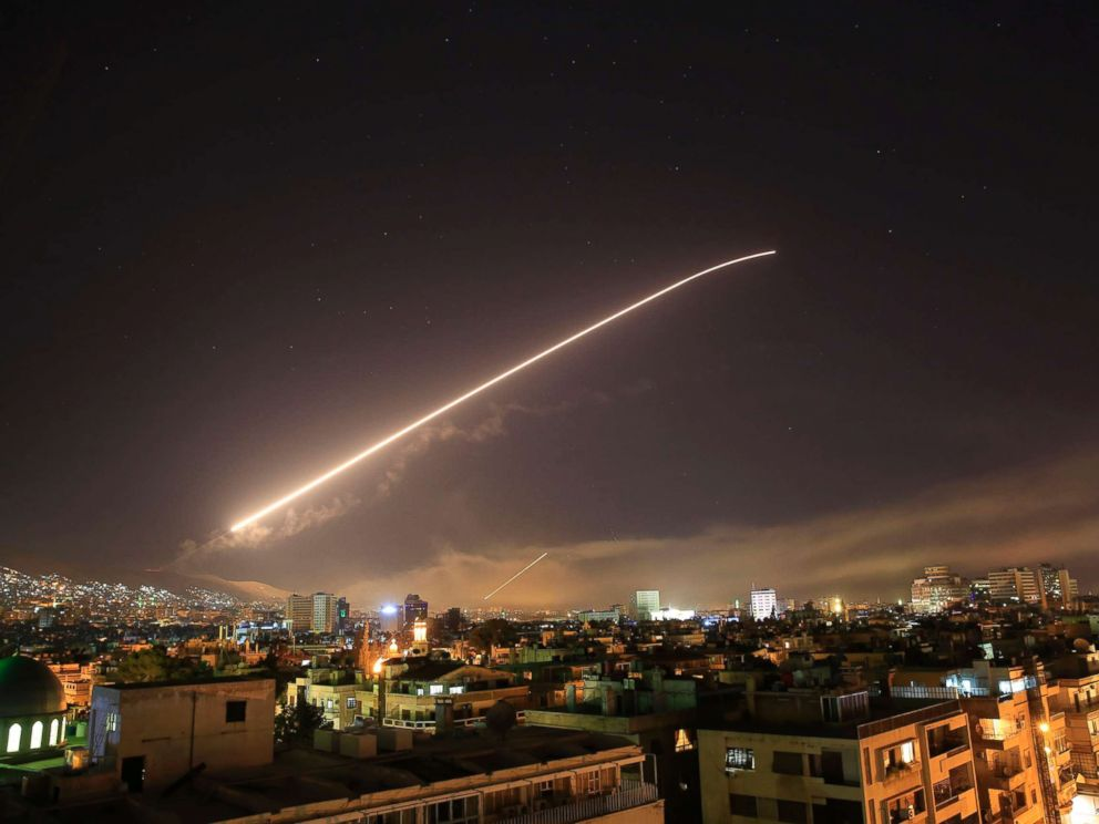 PHOTO: Damascus sky lights up with missile fire as the U.S. launches an attack on Syria targeting different parts of the Syrian capital Damascus, Syria, early Saturday, April 14, 2018.