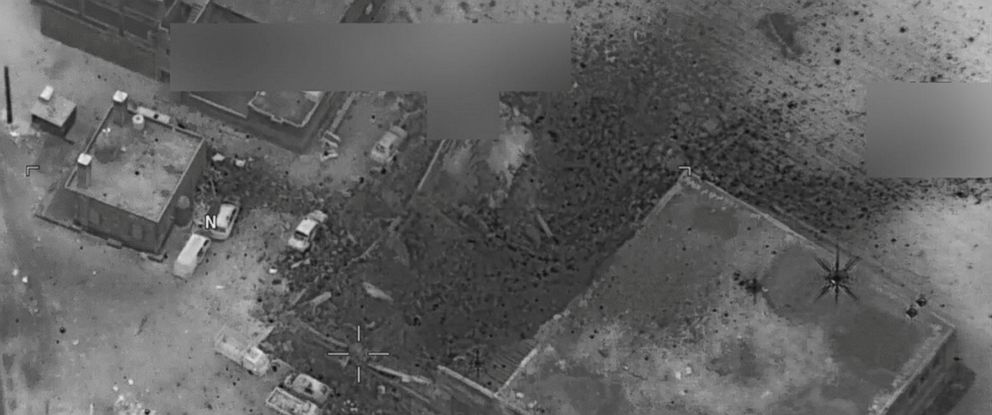 PHOTO: A post-strike photo of the site which the Pentagon says is of an al Qaeda senior leader meeting in al-Jinah, Syria, that the U.S. stuck on March 16, 2017.