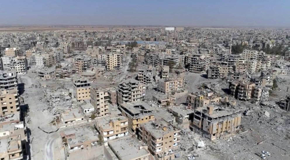 PHOTO: An image taken from drone video shows damaged buildings in Raqqa, Syria, Oct. 19, 2017.