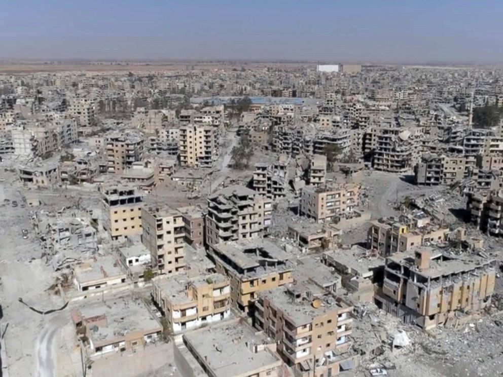 PHOTO: This Oct. 19, 2017 made from drone video shows damaged buildings in Raqqa, Syria two days after Syrian Democratic Forces said that military operations to oust the Islamic State group have ended.
