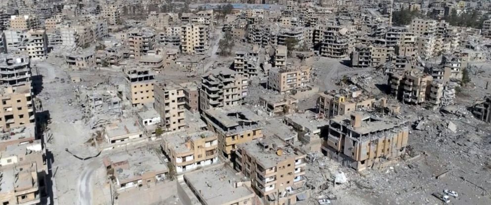 PHOTO: This Oct. 19, 2017, frame grab made from drone video shows damaged buildings in Raqqa, Syria.