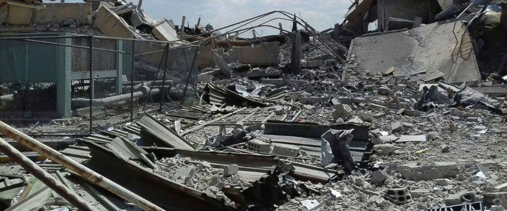 PHOTO: A photo released by the Syrian official news agency SANA, shows the damage to the Syrian Scientific Research Center which was attacked by U.S., British and French military strikes, April 14, 2028, in Barzeh, near Damascus, Syria.