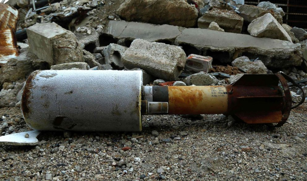PHOTO: A photo shows an empty rocket reportedly fired by regime forces on the rebel-held besieged town of Douma on the outskirts of the capital, Damascus, on Jan. 22, 2018.