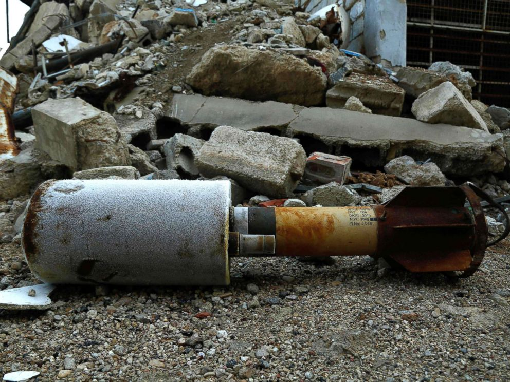 PHOTO: A photo shows an empty rocket reportedly fired by regime forces on the rebel-held besieged town of Douma on the outskirts of the capital, Damascus, on Jan. 22, 2018. <p itemprop=