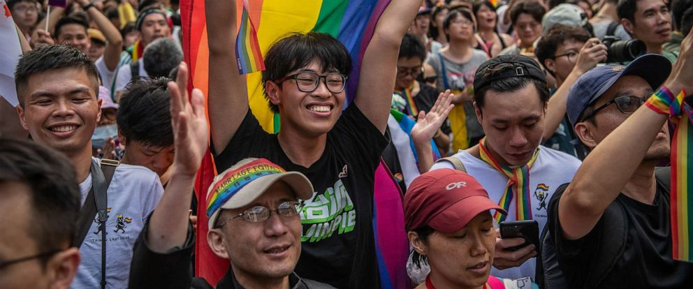 PHOTO: People celebrate after Taiwans parliament voted to legalize same-sex marriage on May 17, 2019 in Taipei, Taiwan. Taiwan became the first country in Asia to legalize same-sex marriage which will go into effect on May 24.