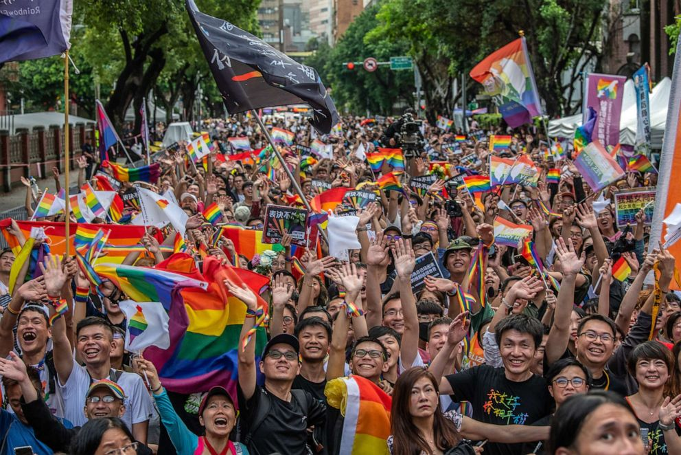 PHOTO: TThousands of gay rights supporters gathered outside the parliament building celebrate after Taiwans parliament voted to legalize same-sex marriage on May 17, 2019 in Taipei, Taiwan.