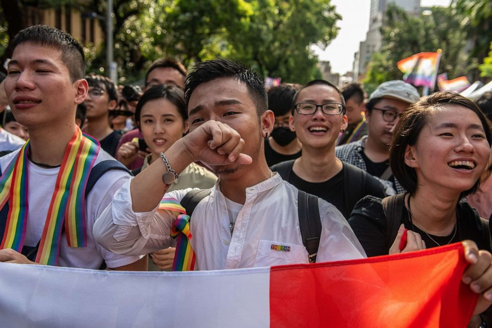 PHOTO: People celebrate after Taiwans parliament voted to legalize same-sex marriage on May 17, 2019 in Taipei, Taiwan.