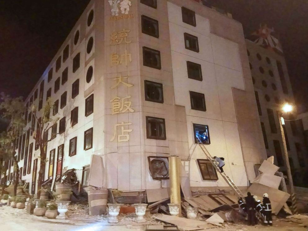 PHOTO: Rescue workers search the Marshal Hotel in Hualien, eastern Taiwan early Feb. 7, 2018, after a strong earthquake struck the island.