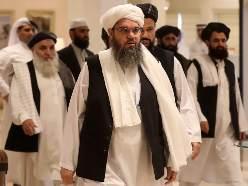 PHOTO: The Talibans former envoy to Saudi Arabia Shahabuddin Delawar (C) arrives with other Taliban mebmers to attend the Intra Afghan Dialogue talks in the Qatari capital Doha on July 7, 2019.