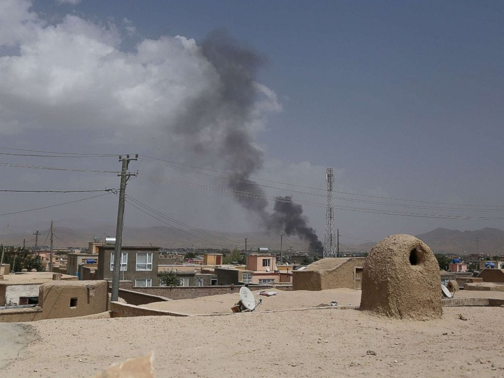 PHOTO: Smoke rising into the air after Taliban militants launched an attack on the Afghan provincial capital of Ghazni, Aug. 10, 2018.